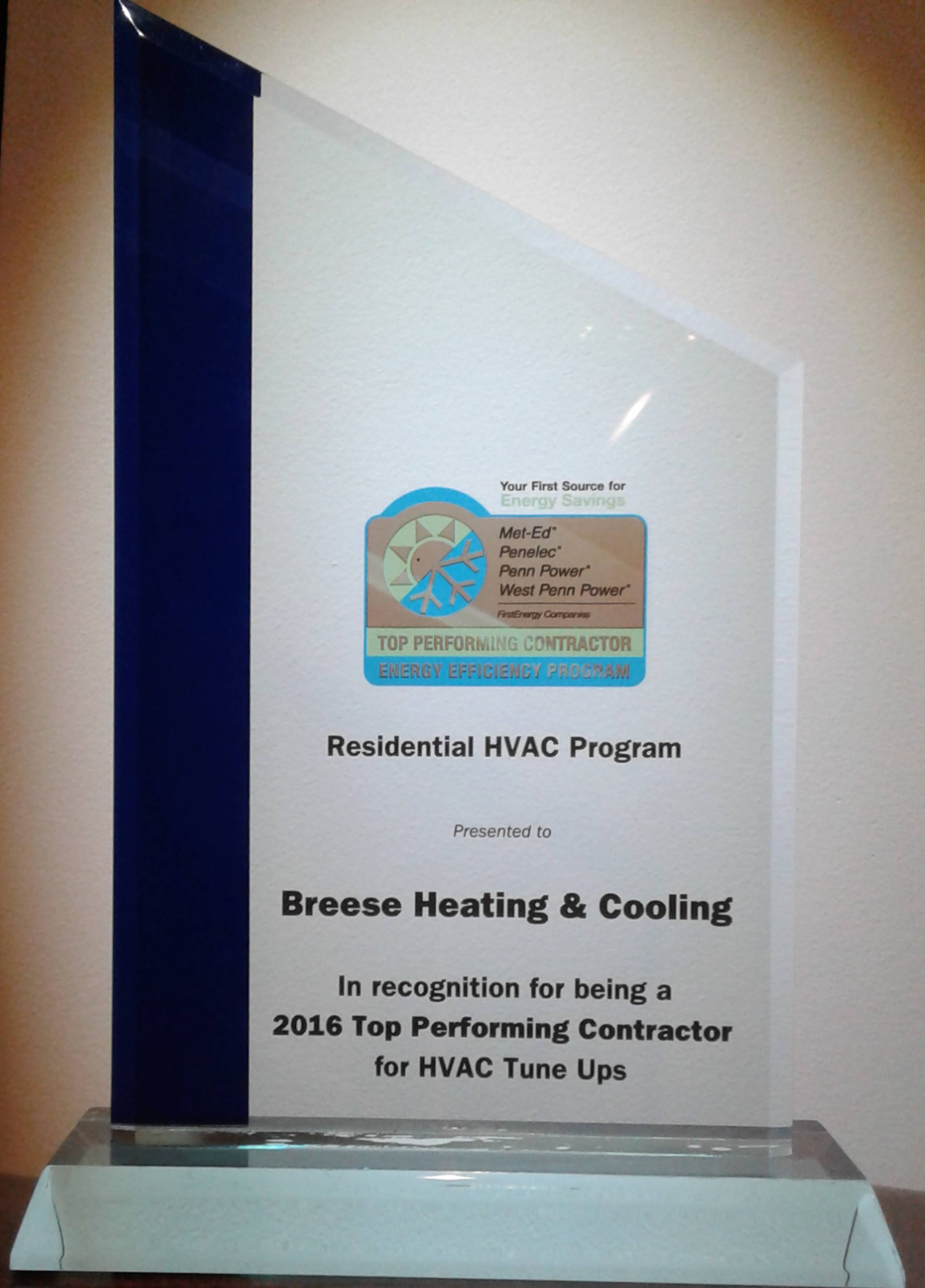 FE Award for HVAC tuneups